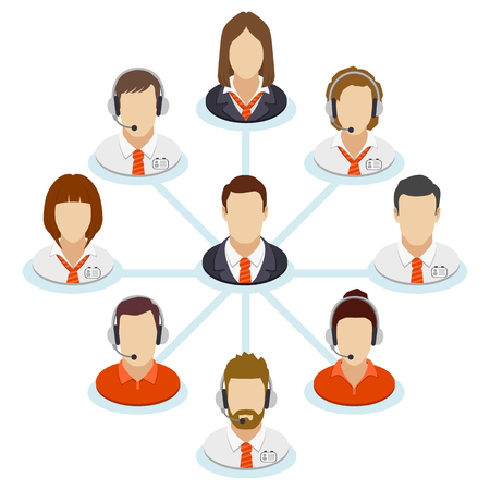 Teamwork flow chart. Corporate organization chart with business people icons. Spider business-diagram. Company structure in a flat style. Vector illustration. Illustration