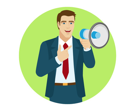 proclaim: Businessman with loudspeaker pointing on the loudspeaker. Portrait of businessman in a flat style. Vector illustration. Illustration
