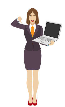 rejection: Businesswoman holding a laptop notebook and showing thumb down gesture as rejection symbol. Full length portrait of businesswoman in a flat style. Vector illustration. Illustration