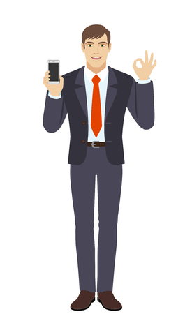 Businessman holding mobile phone and show a okay hand sign. Full length portrait of businessman in a flat style. Vector illustration.
