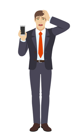 Businessman holding mobile phone and and grabbed his head. Full length portrait of businessman in a flat style. Vector illustration.