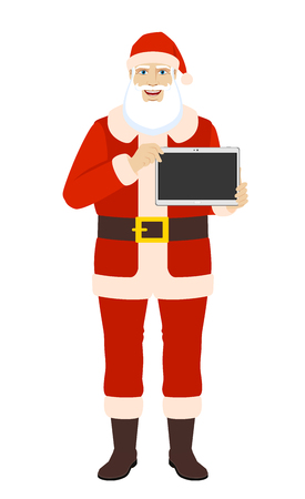 Santa Claus showing blank digital tablet PC. Full length portrait of Santa Claus in a flat style. Vector illustration.