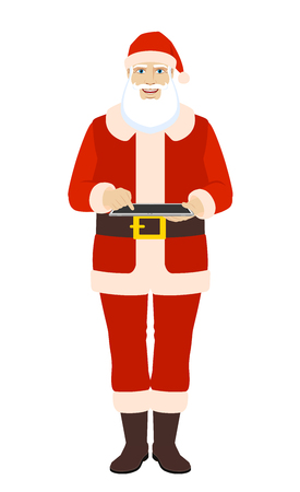 Santa Claus uses a digital tablet PC. Full length portrait of Santa Claus in a flat style. Vector illustration. Illustration