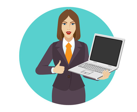 Businesswoman holding a laptop notebook and shows thumb up. Portrait of businesswoman in a flat style. Vector illustration.