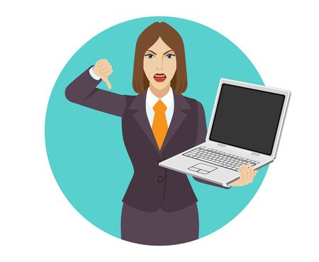 rejection: Businesswoman holding a laptop notebook and showing thumb down gesture as rejection symbol. Portrait of businesswoman in a flat style. Vector illustration.