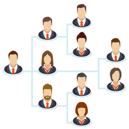 hierarchical: Teamwork flow chart. Corporate organization chart with business people icons. The hierarchical organization management system. Company  business structure in a flat style. Vector illustration.
