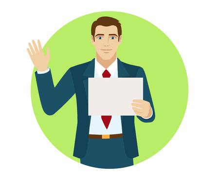 Businessman holding a paper and greeting someone with his hand raised up. Portrait of businessman in a flat style. Vector illustration.