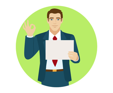 OK!  Businessman holding a pape and show a okay hand sign. Portrait of businessman in a flat style. Vector illustration. Illustration