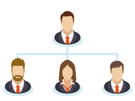 hierarchical: Teamwork flow chart. Corporate organization chart with business people icons. The hierarchical organization management system.