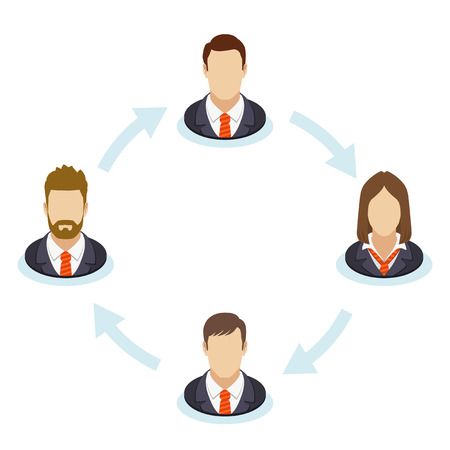 social gathering: The interaction of the staff. Corporate organization chart with business people icons. Company business structure in a flat style. Vector illustration.