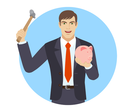 break in: Businessman trying to break a piggy bank with a hammer. Portrait of businessman in a flat style. Vector illustration. Illustration