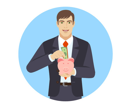 Businessman puts banknote in a piggy bank. Portrait of businessman in a flat style. Vector illustration. Ilustracja