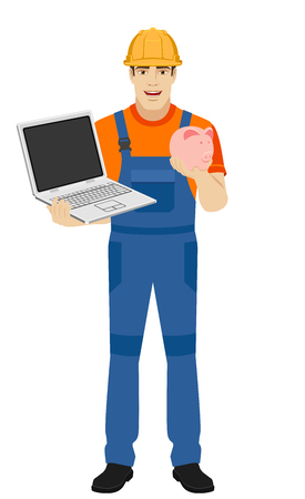Builder holding a laptop and a piggy bank. Full length portrait of builder in a flat style. Vector illustration.