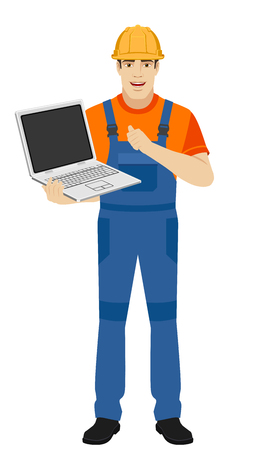 Builder holding a laptop and pointing the finger at yourself. Self-promotion. Full length portrait of builder in a flat style. Vector illustration.