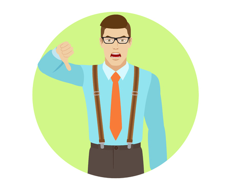Businessman showing thumb down gesture as rejection symbol. A man wearing a and suspenders. Portrait of businessman in a flat style. Vector illustration. Illustration