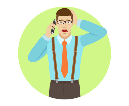 Shocked businessman talking on the mobile phone and grabbed his head. A man wearing a and suspenders. Portrait of businessman in a flat style. Vector illustration.