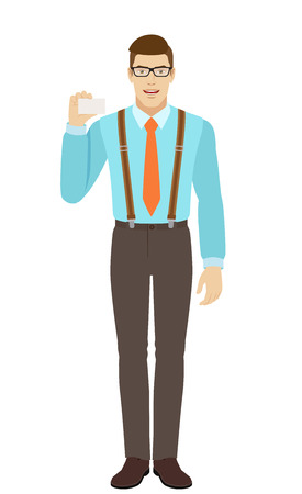 Businessman shows the business card. A man wearing a tie and suspenders. Full length portrait of businessman in a flat style. Vector illustration.