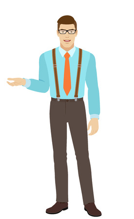 Businessman gesturing. Businessman shows something beside of him. A man wearing a tie and suspenders. Full length portrait of businessman in a flat style. Vector illustration. Illustration