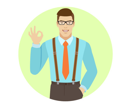 OK! Smiling businessman show a okay hand sign. A man wearing a tie and suspenders. Portrait of businessman in a flat style. Vector illustration.