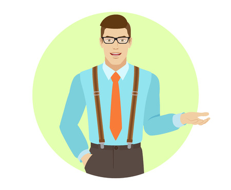 gesticulation: Businessman shows something beside of him. A man wearing a tie and suspenders. Portrait of businessman in a flat style. Vector illustration. Illustration