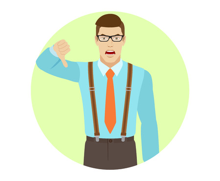 rejection: Businessman showing thumb down gesture as rejection symbol. A man wearing a tie and suspenders. Portrait of businessman in a flat style. Vector illustration. Illustration