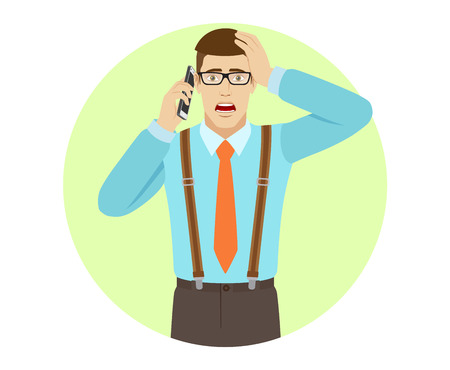 Shocked businessman talking on the mobile phone and grabbed his head. A man wearing a tie and suspenders. Portrait of businessman in a flat style. Vector illustration. Illustration