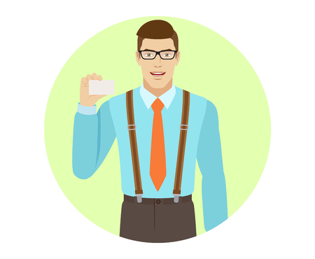 Businessman shows the business card. A man wearing a tie and suspenders. Portrait of businessman in a flat style. Vector illustration. Illustration
