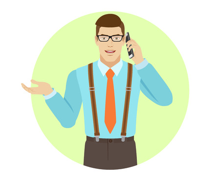 gesticulation: Businessman talking on the mobile phone and gesturing. A man wearing a tie and suspenders. Portrait of businessman in a flat style. Vector illustration. Illustration