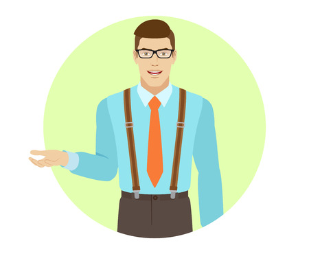 gesticulation: Businessman gesturing. A man wearing a tie and suspenders. Portrait of businessman in a flat style. Vector illustration.