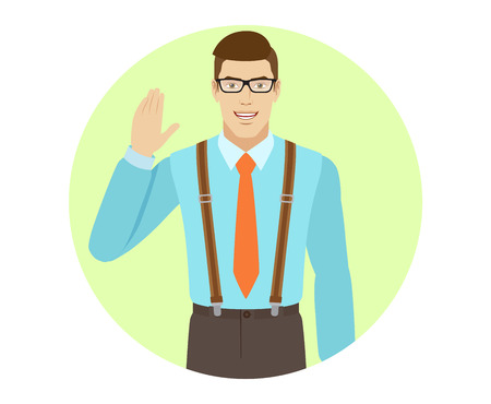 Businessman greeting someone with his hand raised up. A man wearing a tie and suspenders. Portrait of businessman in a flat style. Vector illustration.