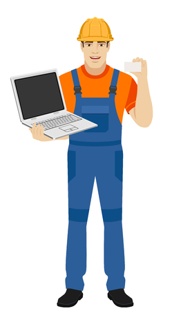 Builder with laptop shows the business card. Full length portrait of builder in a flat style. Vector illustration.