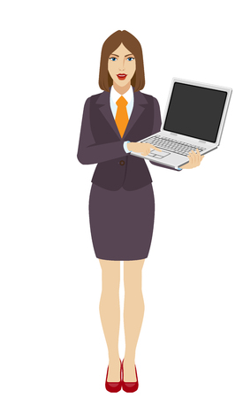 Businesswoman holding a laptop notebook and clicks on the button. Full length portrait of businesswoman in a flat style. Vector illustration. Illustration