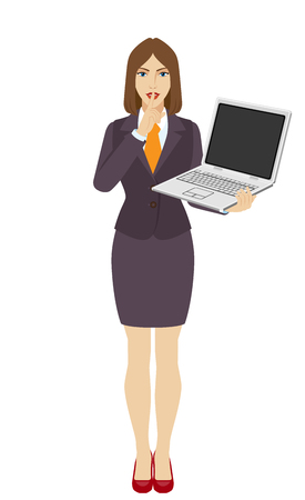 hush hush: Hush hush. Businesswoman holding a laptop notebook and making hush sign. Full length portrait of businesswoman in a flat style. Vector illustration. Illustration