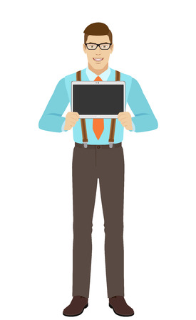 Businessman showing blank digital tablet PC. A man wearing a tie and suspenders. Full length portrait of businessman in a flat style. Vector illustration. Illustration