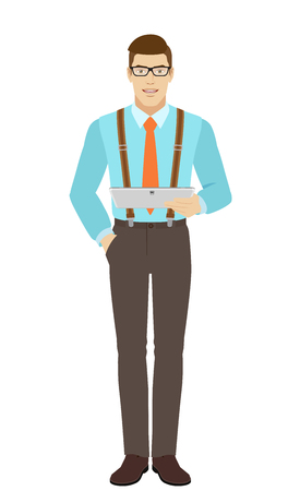 Businessman holding digital tablet PC. A man wearing a tie and suspenders. Full length portrait of businessman in a flat style. Vector illustration. Illustration