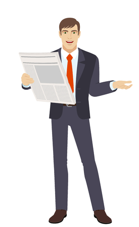 Businessman with newspaper gesturing. Full length portrait of businessman in a flat style. Vector illustration. Illustration