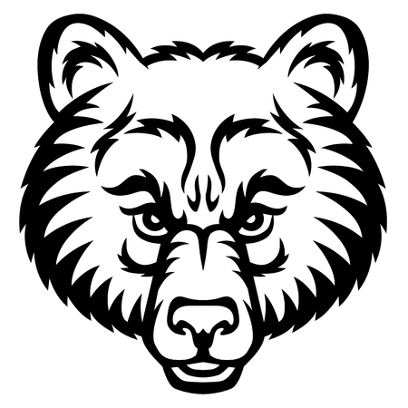 A Bear head logo. This is vector illustration ideal for a mascot and tattoo or T-shirt graphic. Illustration