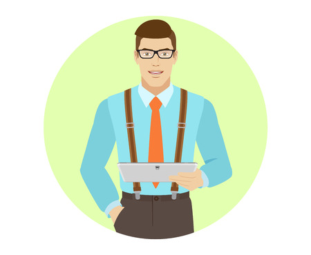 Businessman holding digital tablet PC. A man wearing a tie and suspenders. Portrait of businessman in a flat style. Vector illustration. Illustration