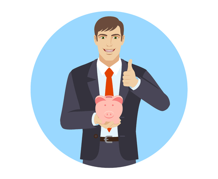 gesticulation: Businessman holding a piggy bank and showing thumb up. Portrait of businessman in a flat style. Vector illustration.