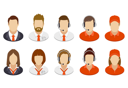 people: Set of business people icons. Red corporate color. Vector illustration. Illustration