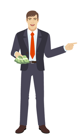 somewhere: Businessman with money showing somewhere. Full length portrait of businessman in a flat style. Vector illustration.
