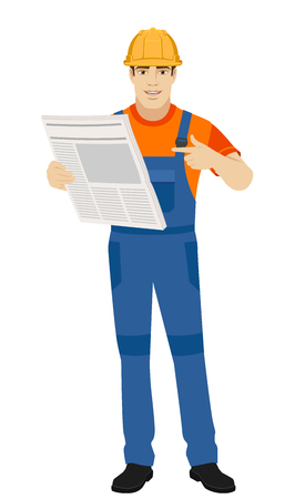 Builder pointing at newspaper. Full length portrait of builder in a flat style. Vector illustration.