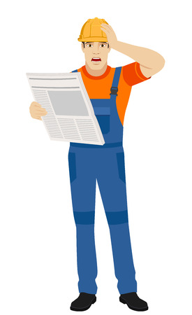 Bad news. Builder with newspaper grabbed his head. Full length portrait of builder in a flat style. Vector illustration.