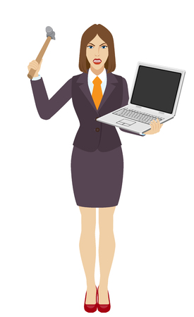 Businesswoman trying to break a laptop notebook with a hammer. Full length portrait of businesswoman in a flat style. Vector illustration. Illustration