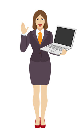 Businesswoman holding a laptop notebook and greeting someone with his hand raised up. Full length portrait of businesswoman in a flat style. Vector illustration. Illustration