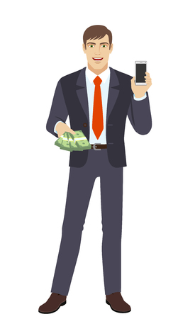 Businessman with money holding mobile phone. Full length portrait of businessman in a flat style. Vector illustration. Illustration