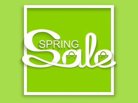 Spring sale. Sale banner with calligraphic inscription on green background. Vector illustration made in paper cut out style.