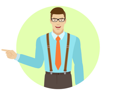 somewhere: Businessman pointing somewhere. A man wearing a tie and suspenders. Portrait of businessman in a flat style. Vector illustration.
