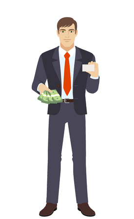 acquaintance: Businessman with money showing the business card. Full length portrait of businessman in a flat style. Vector illustration.