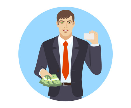 Businessman with money showing the business card. Portrait of businessman in a flat style. Vector illustration.